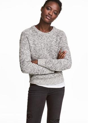 Обновка 💔 вязаный хлопковый джемпер с рукавами реглан h&m белый с черным меланж