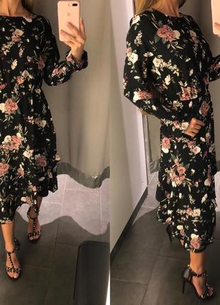 Шикарное шифоновое платье миди amisu платье в цветах