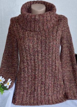 Брендовая вязаная теплая кофта свитер с горловиной vanilla sands акрил