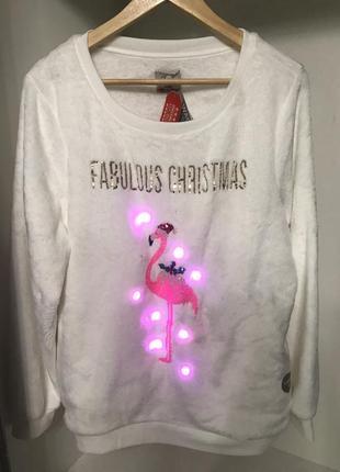 Новая мягкая новогодняя кофта с подсветкой фламинго george гирлянда