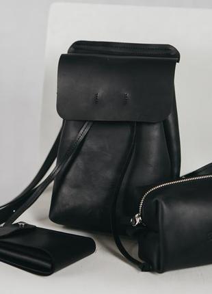 Набор кожаный, рюкзак женский, кошелек, городской рюкзак, жіночий шкіряний комплект