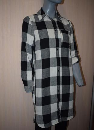 Длинная клетчатая рубашка, платье-рубашка