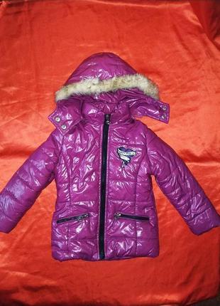Яркая стильная куртка на девочку / пальто/ пуховик