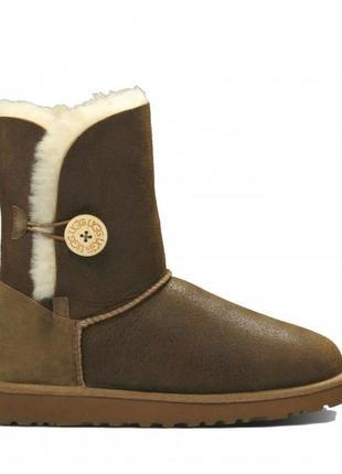 "Женские угги ugg bailey button ii boot leather ""chocolate"