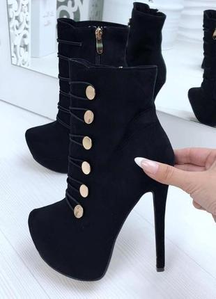 Ботинки на высоком каблуке, черные женские ботильоны
