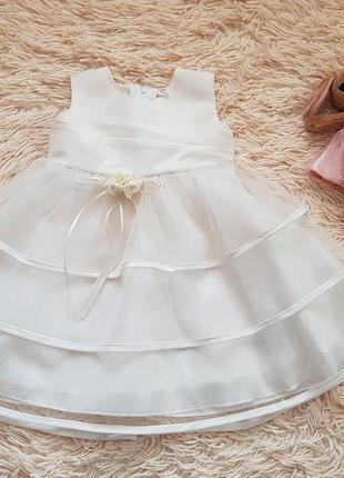 Шикарное нарядное пышное платье цвета айвори