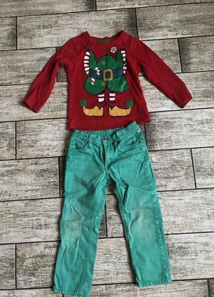 Костюм на новый год, кофта новогодняя эльф и зеленые джинсы на 3-4 г