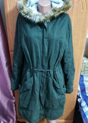 Asos куртка парка для беременных хаки l