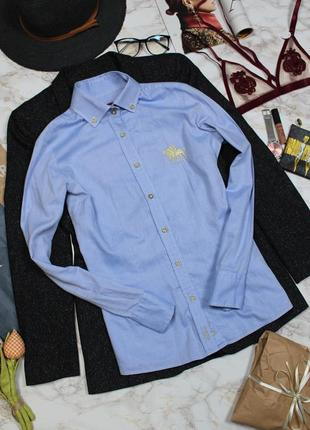 Обнова! рубашка голубоая коттон бренд поло polo оригинал  качество