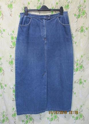 Длинная джинсовая юбка спереди с разрезом большой размер 50-52/uk 18