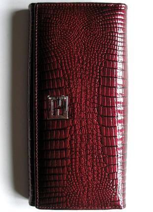 Большой кожаный лаковый пурпурный кошелек, 100% натуральная кожа, доставка бесплатно