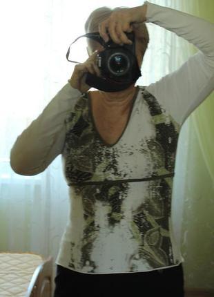 Лонгслив mexx кофточка пуловер кофта футболка с длинным рукавом принтом стразами р. 40