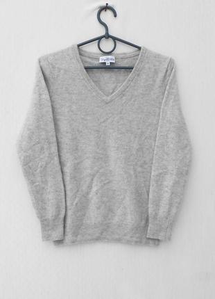 Серый осенний зимний 100% кашемировый свитер с длинным рукавом