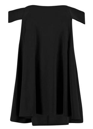 Стильное черное платье-трапеция с открытыми плечами boohoo2 фото