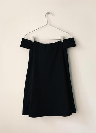 Стильное черное платье-трапеция с открытыми плечами boohoo5 фото