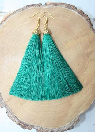 Серьги серёжки кисти кисточки пышные зелёные изумрудные нити большой выбор!