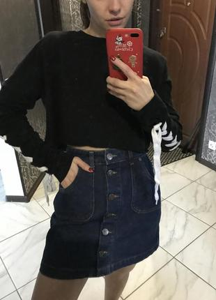 Юбка джинсовая завышенная
