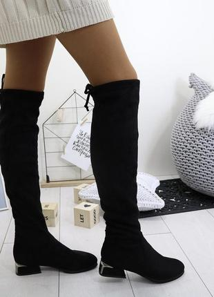 Новые черные демисизонные замшевые сапоги ботфорты размер 36-41