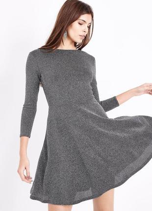 Платье-скейтер с люрексом металлик new look серебристое платье с вырезом на спине