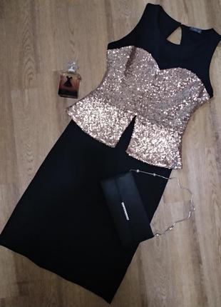 Блестящее золотистое вечернее новогоднее платье облегающее с баской от jenny yoo