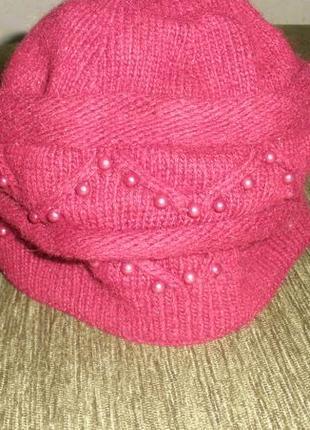 Интересная двойная теплая шапка берет