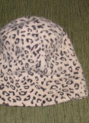 Теплая шерстяная шапка леопардовый принт