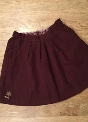 Тёплая юбка на девочку 134 бордо