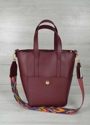 Молодежная женская сумка милана с ярким ремнем (8 цветов)