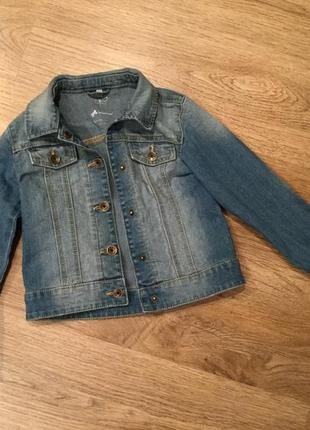 Джинсовая куртка на девочку 128