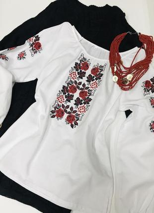Классическая блуза с вышивкой вышиванка вишиванка 100% хлопок размер 46-48