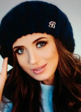 Шарф и шапка  синего цвета