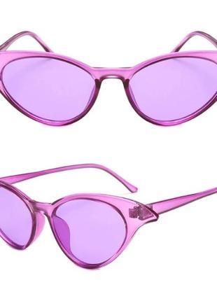 Фиолетовые женские очки кошечки лисички имиджевые стильные новинка для стиля имиджа