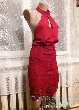 Новое нарядное красное платье с чокером, размер с-ка