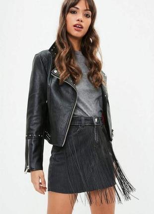 Супер джинсовая юбка с бахрамой от missguided1 фото