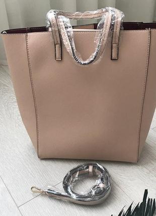 Бежевая сумка с длинной ручкой сумка цвета нюд