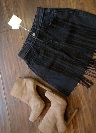 Супер джинсовая юбка с бахрамой от missguided4 фото