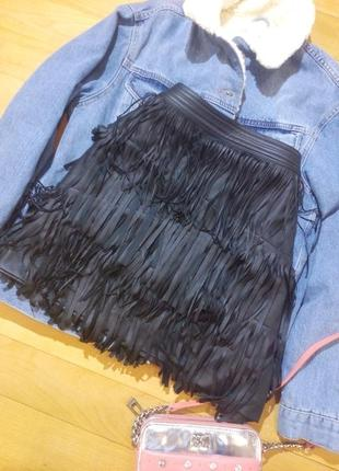 Стильная юбка- трапеция с бахромой h&m