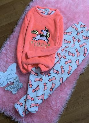 Теплая махровая пижама с единорогом ( штаны, кофта ) love to lounge