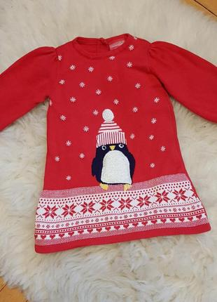 Трикотажное новогоднее платье