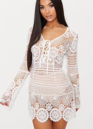 Вязаное короткое платье prettylittlething от  магазина asos!