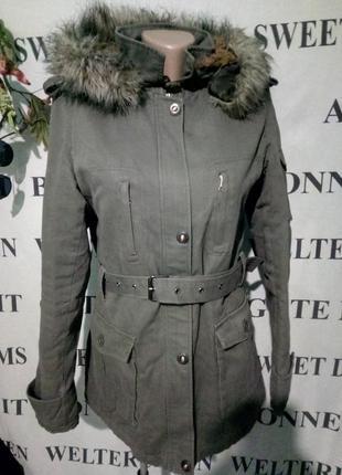 **blessing**куртка парка с капюшоном теплая с искуственным мехом uk12 пог-56см