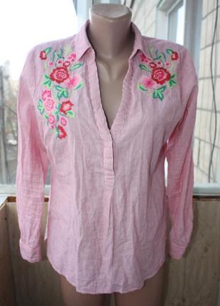 Шикарная стильная хлопковая рубашка с вышивкой