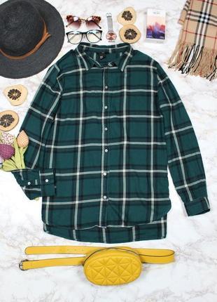 Обнова! фланелевая рубашка зеленая в крупную клетку свободного кроя h&m