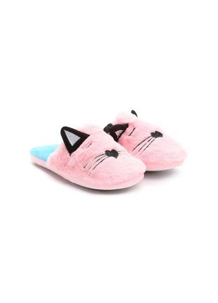 Розовые домашние тапочки с кошачьей мордочкой (78554)