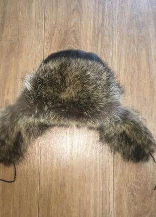 Натуральная шапка-ушанка, кожа, мех енота, р-р 58-60. в идеале