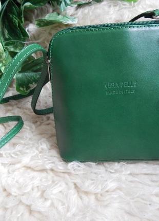 Итальянская кожаная сумочка через плечо vera pelle-зеленая*vera pelle