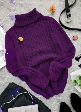 Вязаный плотный свитер с косами и объемным воротником esmara