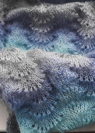 """Мохеровый шарф, размер 108х45 см, узор """"павлинье перо"""""""