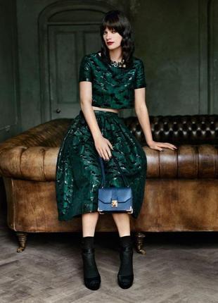 Шикарный комплект кроп топ + юбка миди из лимитированной коллекции topshop