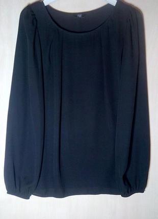 🍀чёрная шифоновая блуза с длинными рукавами f&f